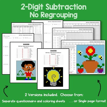 Earth Day 2 Digit Subtraction No Regrouping