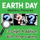 3rd Grade Math Earth Day 3-Digit Addition Coloring Sheet With Regrouping
