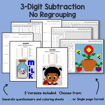 Earth Day 3 Digit Subtraction No Regrouping