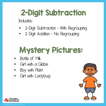 Earth Day 2 Digit Subtraction