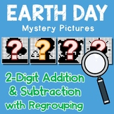 Earth Day Color By Addition And Subtraction Worksheets 2 Digits With Regrouping