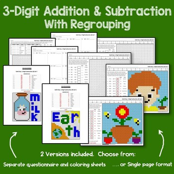 Earth Day 3 Digit Addition and Subtraction With Regroup
