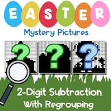 Math Mystery, Easter 2-Digit Subtraction Coloring Worksheets With Regrouping