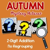 Addition Coloring For Fall, 2-Digit Addition With No Regrouping Mystery Pictures