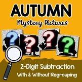 Fall Color By Number Subtraction, Fall Coloring Math Mystery Picture Worksheets