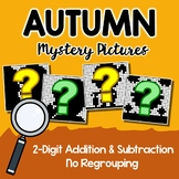 2-Digit Color By Number, Fall Addition And Subtraction Mystery Picture Pages