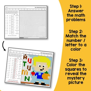 Math Coloring Fall Addition And Subtraction With Regrouping, 2-Digit Numbers
