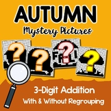 Fall Color By Addition, Fall Math Mystery Picture Activity Add 3-Digit Worksheet