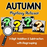 3-Digit Addition, Subtraction Fall Coloring Worksheets Mystery Picture Activity