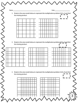 Multiplying Decimals with Models Activity Sheets 5.3D & 5.NBT.B.7