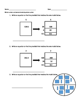Dividing Decimals with Models Activity Sheets 5.3F & 5.NBT.B.7