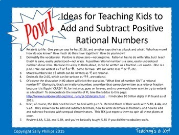 5.3K Add and Subtract Positive Rational Numbers -- Pow!