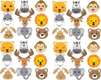 54 PNG Files- Kawaii Animal Faces ClipArt- Digital Clip Art Graphics (117)