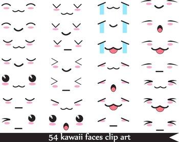 54 PNG Files- Kawaii Faces-Digital Clip Art - 300 dpi 066