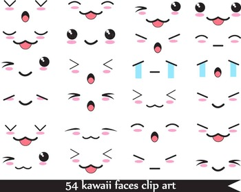 54 PNG Files- Kawaii Faces-Digital Clip Art - 300 dpi 066