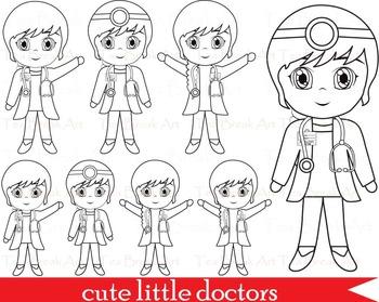 54 PNG -Girl doctors outline clip art- Digital Clip Art - 300 dpi 061