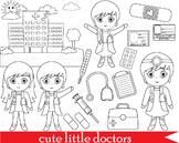 54 PNG -Girl doctors outline clip art- Digital Clip Art -