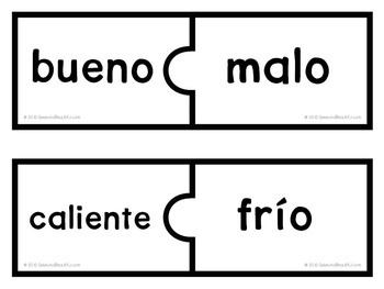 54 PUZZLES - Antónimos - Antonyms in Spanish -- Print and Go!
