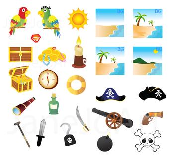 54 Pirate clipart PNG Pirate Image Paper Parrot Pirate ship skull bones clip art