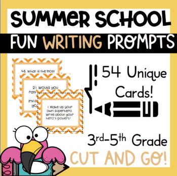 54 Summer School Writing Prompts Journal Task Cards Fun  1st - 5th *common core*