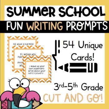 54 Summer School Writing Prompts Journal Task Cards Fun  1