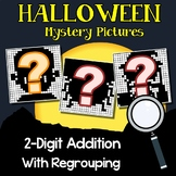 Mystery Picture Pages, Halloween Color By Addition Sheets, 2 Digit Regrouping