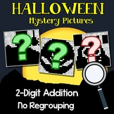 Halloween Addition Coloring By Number, 2 Digits With No Regrouping Worksheets
