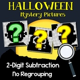 Halloween Color By Number Subtraction Worksheets Double Digit Without Regrouping