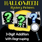 3rd Grade Math Halloween Three Digit Addition Coloring Sheet With Regrouping