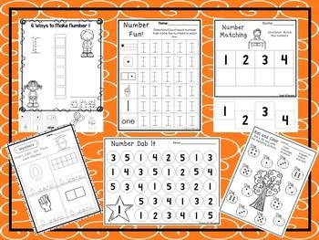 541 Numbers Worksheets Download. Preschool-Kindergarten.  Worksheets in ZIP