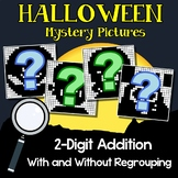 1st 2nd Grade October Math Packet, Halloween 2-Digit Addition Coloring Pages