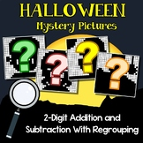 Halloween Color By Addition And Subtraction Worksheets 3 Digits With Regrouping