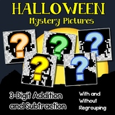 3 Digit Adding And Subtracting, Halloween Coloring Math Worksheets