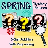 3rd Grade Math Spring 3-Digit Addition Coloring Sheet With Regrouping