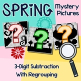 Spring 3-Digit Subtraction Coloring Worksheets With Regrouping