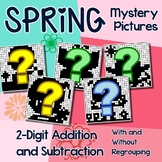 Spring Double Digit Addition & Subtraction Activities, 2nd Grade Coloring Sheets