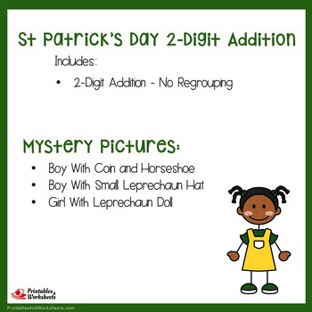 St Patrick's Day 2 Digit Addition No Regrouping