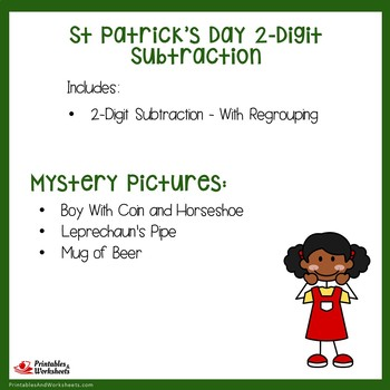St Patrick's Day 2 Digit Subtraction With Regrouping
