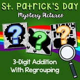3rd Grade Math St. Patrick's Day 3-Digit Addition Coloring Sheet With Regrouping