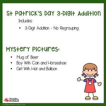 St. Patrick's Day 3 Digit Addition No Regrouping