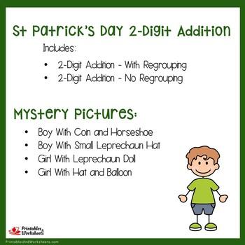 St Patrick's Day 2 Digit Addition