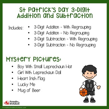 St. Patrick's Day 3 Digit Addition and Subtraction