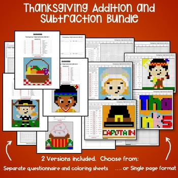 Fun Addition And Subtraction Worksheets Thanksgiving Math Coloring Pages