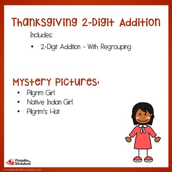 Mystery Picture Pages, Thanksgiving Color By Addition Sheets, 2 Digit Regrouping