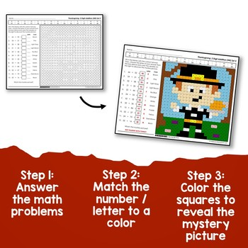 Thanksgiving Addition Coloring By Number, 2 Digits With No Regrouping Worksheets