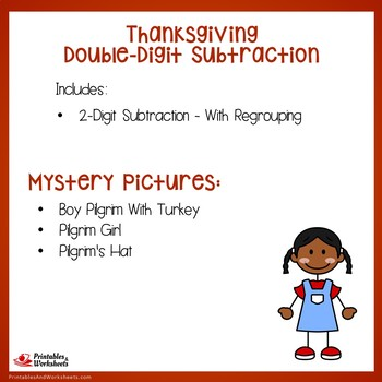 Math Mystery Thanksgiving 2-Digit Subtraction Coloring Worksheet With Regrouping