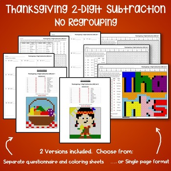 Thanksgiving Color By Number Subtraction Worksheets Double Digit Without Regroup