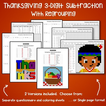 Thanksgiving 3-Digit Subtraction Coloring Worksheets With Regrouping