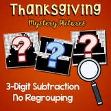 Thanksgiving Color By Number 3 Digit Subtraction Coloring Worksheets No Regroup