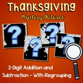 Thanksgiving Color By Addition & Subtraction Worksheets 3 Digits With Regrouping